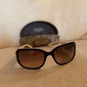 Coach Black Cream Sunglasses and Hard Case